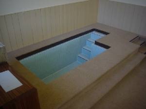 Concrete tiled Baptistery pool, 2005.
